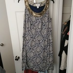 LOFT blue patterned embellished dress size 12